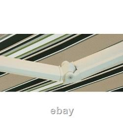 2x1.5M Multi Stripe Manual Awning Canopy Garden Patio Shade Shelter Retractable