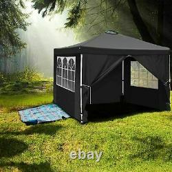 3x3M Pop-Up Gazebo Canopy Marquee Strong Waterproof With Sides Garden Patio Tent