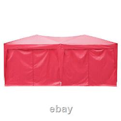3x6m Garden Gazebo Party Market Stall Tent, Patio Shade Outdoor Green Canopy Red