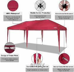 3x6m Gazebo Garden Party Market Shelter Tent Patio Shade Outdoor Canopy Red UK