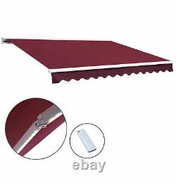 Electric Patio Awning LED Lights Retractable Window Canopy Garden Sun Shade Red