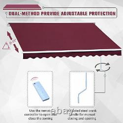 Electric Retractable Awning 2.5x2m Red Canopy Waterproof Patio Cassette Shade