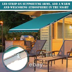 Electric Retractable Awning 3x2.5m Green Canopy Waterproof Patio Cassette Shade