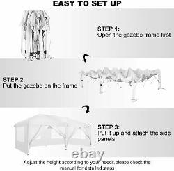 Gazebo Marquee Party Tent With Sides Waterproof Garden Patio Canopy 3x6m White