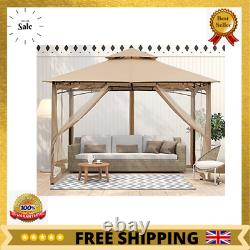 Outdoor Garden Gazebo 2.5x2.5M With Netting for Patios Double Roof Soft Canopy