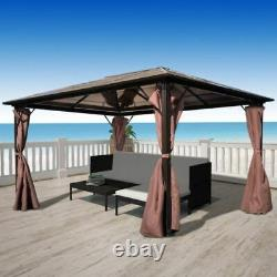 Outdoor Patio Canopy Party Gazebo Shelter Hardtop with Mesh and Curtains 400/300CM
