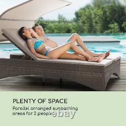 Sun Bed Lounger Garden Patio Outdoor Canopy daybed Reclinable Rattan Taupe