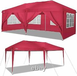 3x6m Jardin Gazebo Black Party Shelter Tent, Patio Shade Outdoor Sun Canopy Red